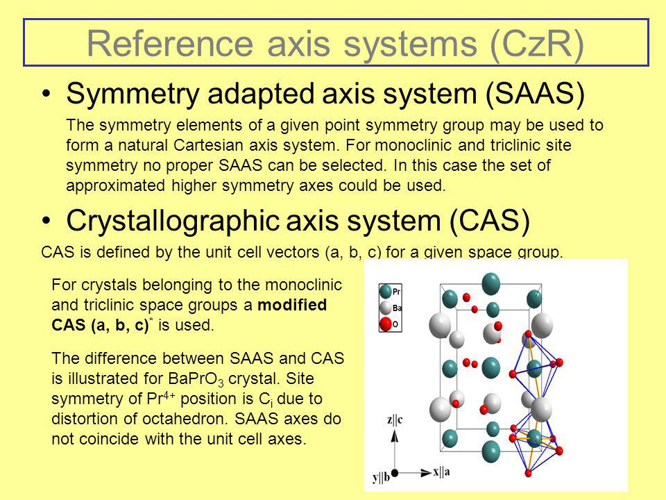 Reference axis systems (CzR)