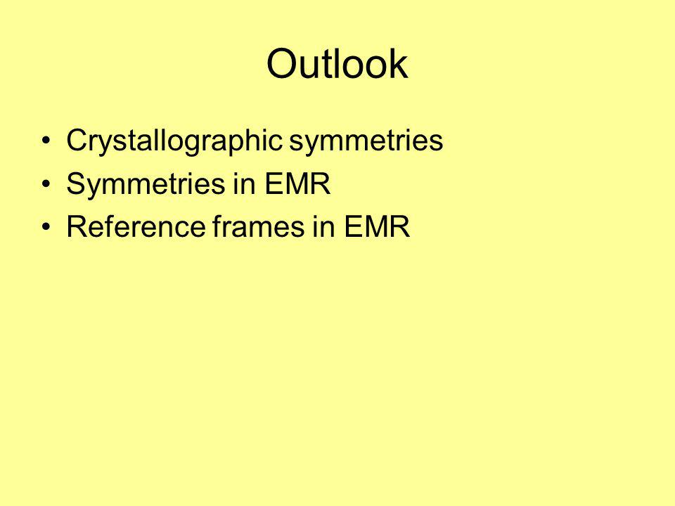 Outlook Crystallographic symmetries Symmetries in EMR