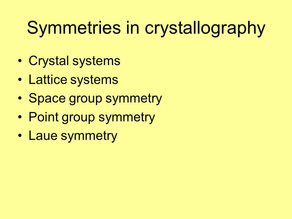 Symmetries in crystallography