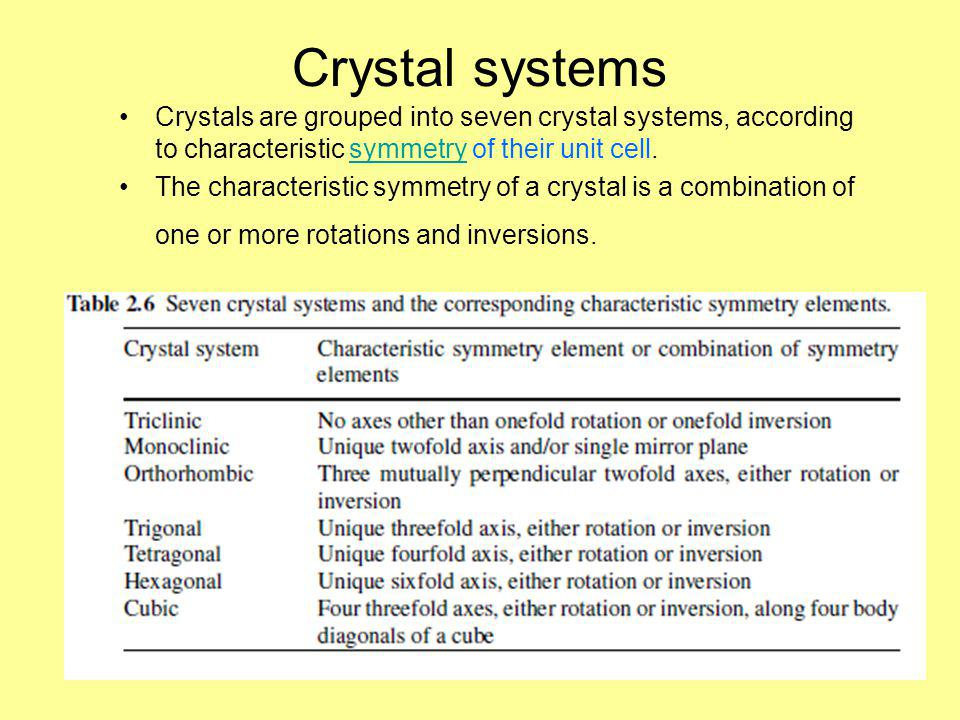 Crystal systems Crystals are grouped into seven crystal systems, according to characteristic symmetry of their unit cell.