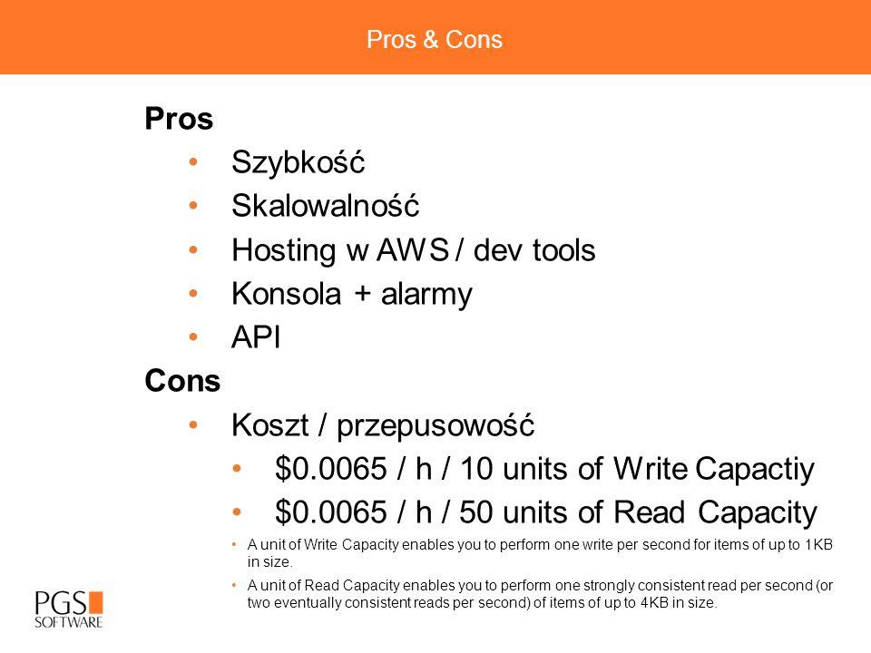 Hosting w AWS / dev tools Konsola + alarmy API Cons