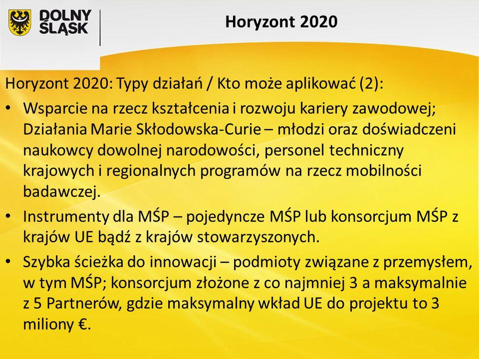 Horyzont 2020 Horyzont 2020: Typy działań / Kto może aplikować (2):