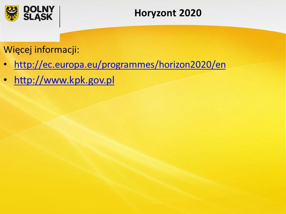 Horyzont 2020 http://www.kpk.gov.pl Więcej informacji: