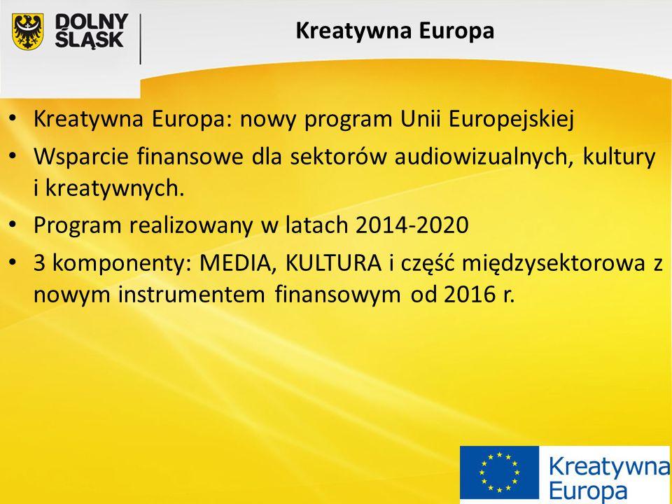 Kreatywna Europa Kreatywna Europa: nowy program Unii Europejskiej. Wsparcie finansowe dla sektorów audiowizualnych, kultury i kreatywnych.