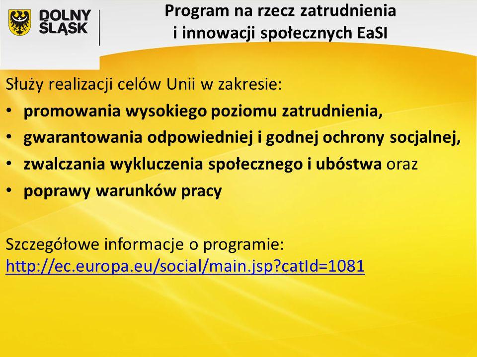 Program na rzecz zatrudnienia i innowacji społecznych EaSI