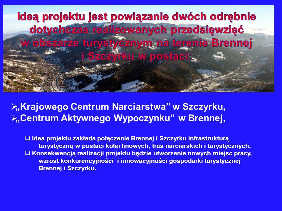 Ideą projektu jest powiązanie dwóch odrębnie dotychczas realizowanych przedsięwzięć w obszarze turystycznym na terenie Brennej i Szczyrku w postaci: