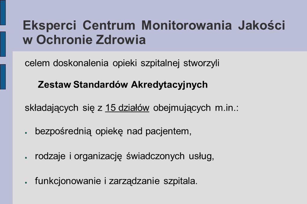 Eksperci Centrum Monitorowania Jakości w Ochronie Zdrowia