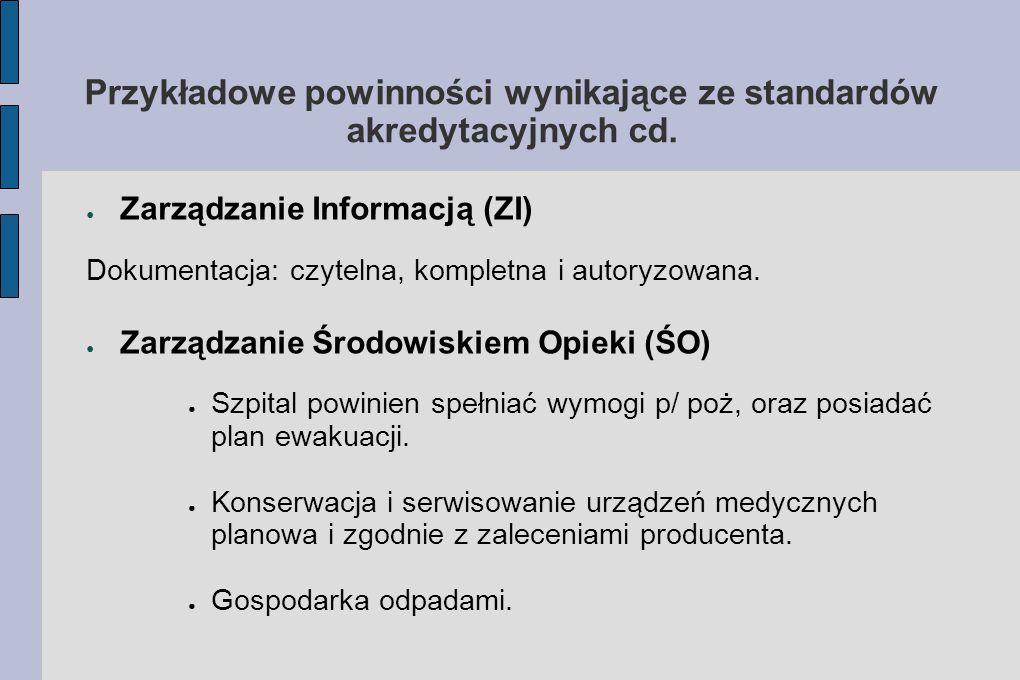 Przykładowe powinności wynikające ze standardów akredytacyjnych cd.