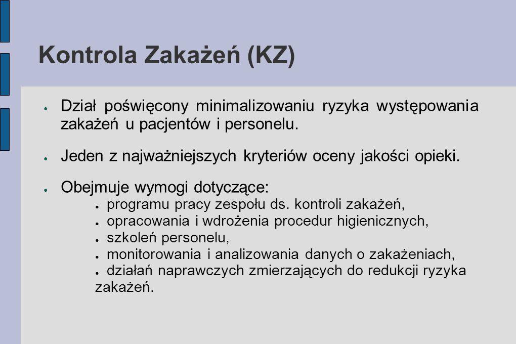Kontrola Zakażeń (KZ) Dział poświęcony minimalizowaniu ryzyka występowania zakażeń u pacjentów i personelu.