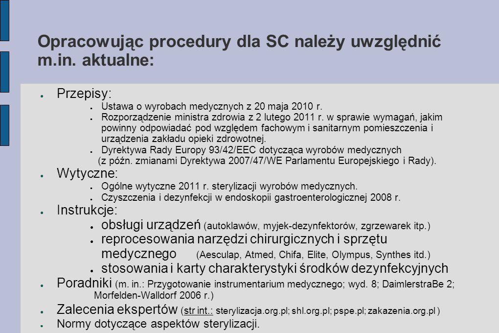 Opracowując procedury dla SC należy uwzględnić m.in. aktualne: