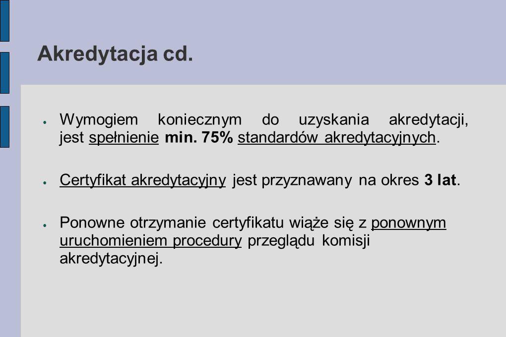 Akredytacja cd. Wymogiem koniecznym do uzyskania akredytacji, jest spełnienie min. 75% standardów akredytacyjnych.