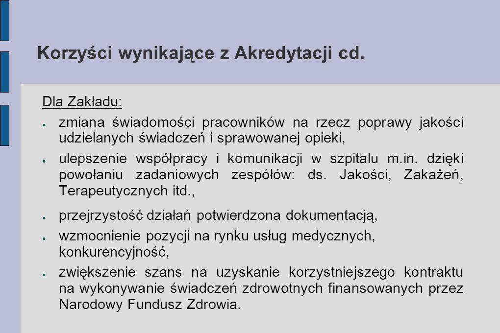 Korzyści wynikające z Akredytacji cd.