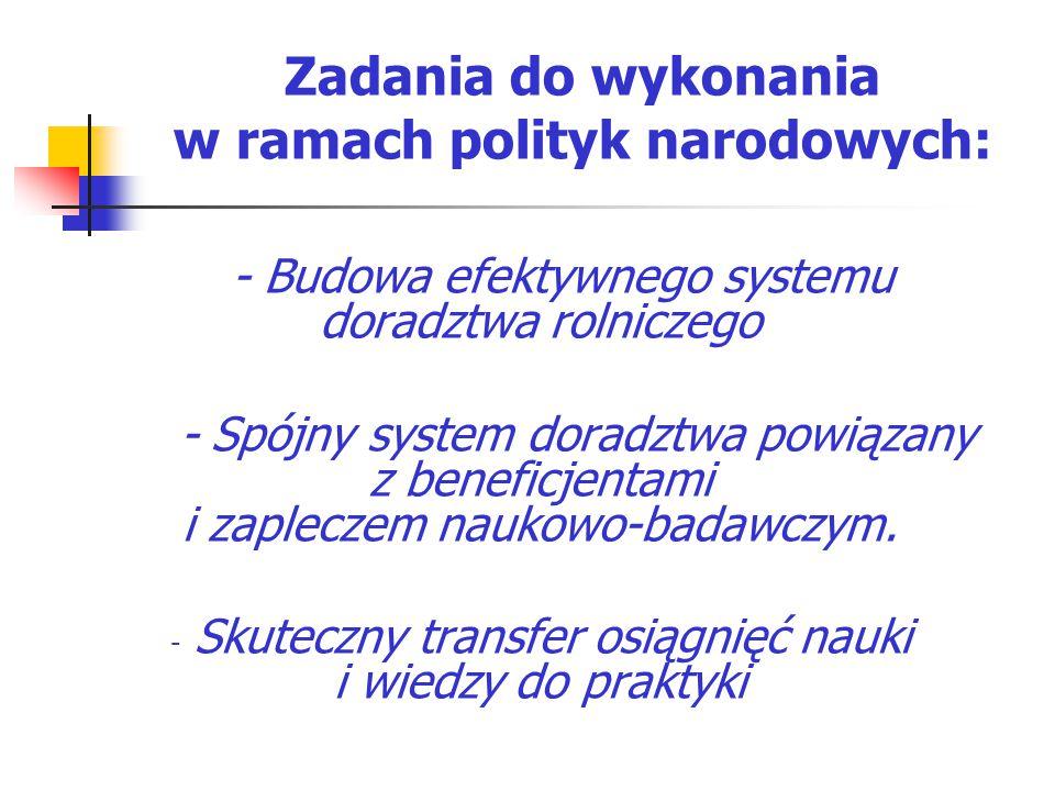 Zadania do wykonania w ramach polityk narodowych: