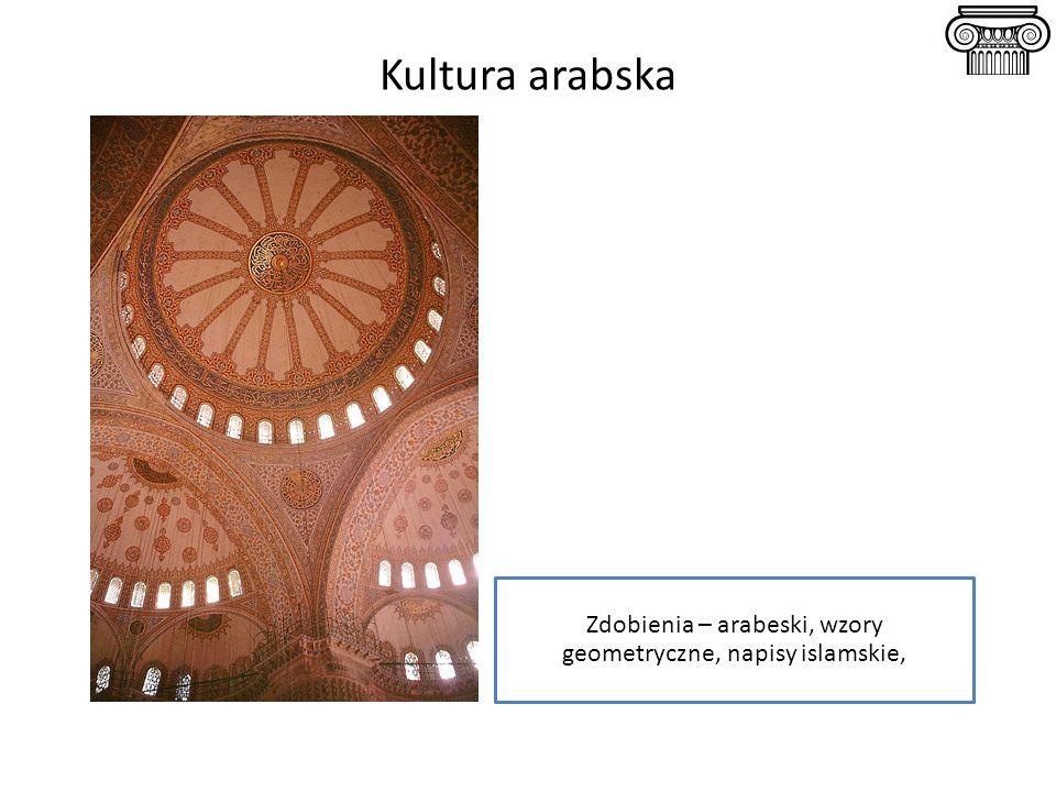 Zdobienia – arabeski, wzory geometryczne, napisy islamskie,
