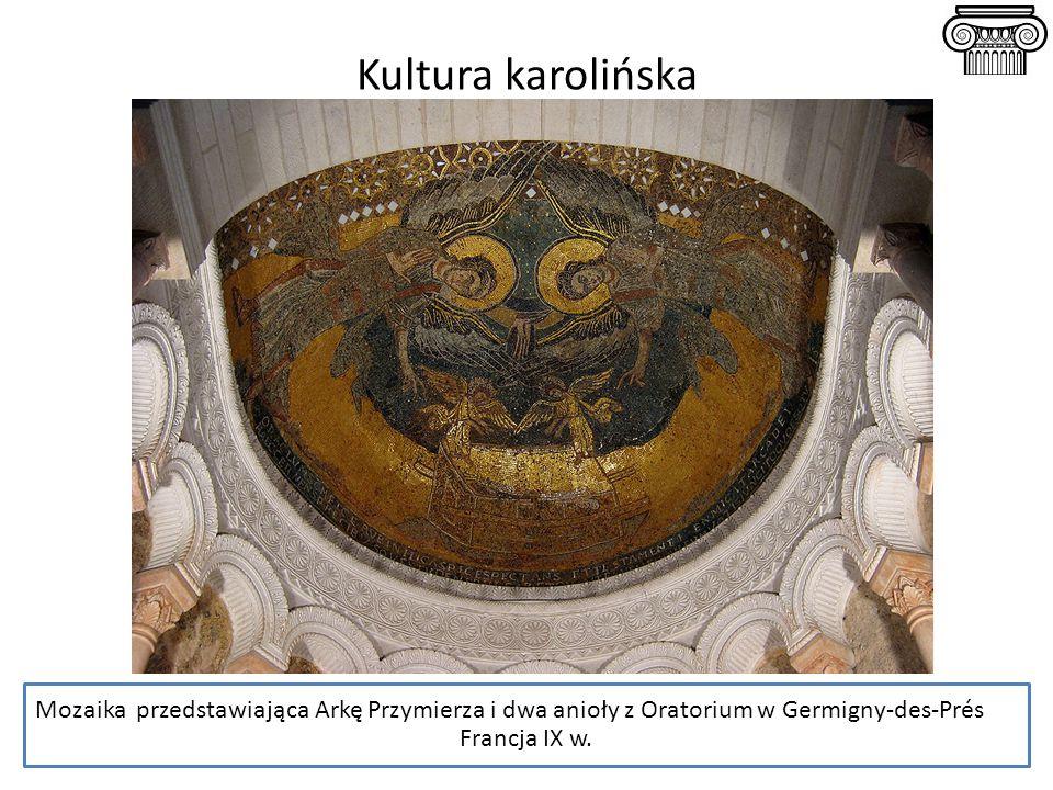 Kultura karolińska Mozaika przedstawiająca Arkę Przymierza i dwa anioły z Oratorium w Germigny-des-Prés.