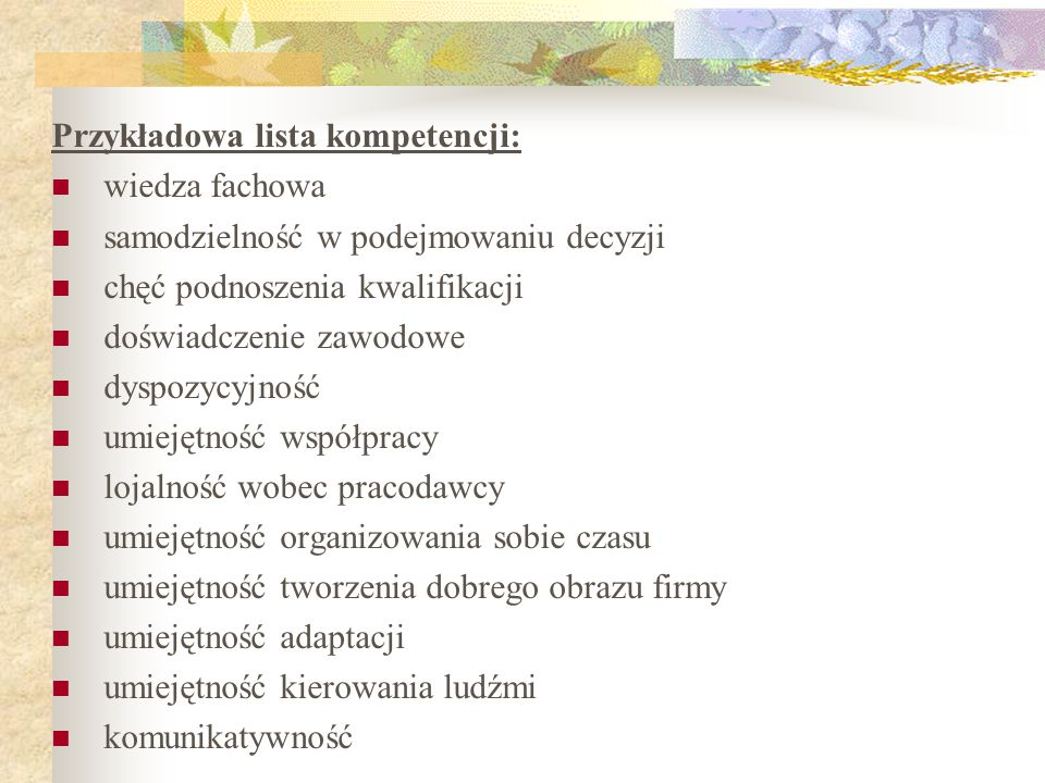 Przykładowa lista kompetencji:
