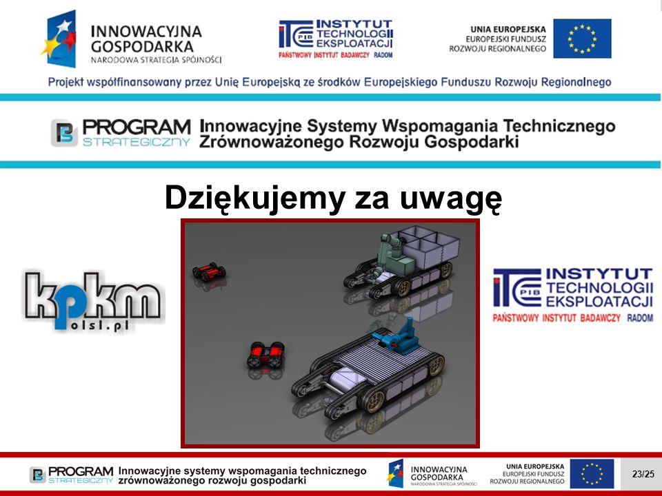 Dziękujemy za uwagę Wielozadaniowe mobilne roboty … II.4.1 23/27 23/25
