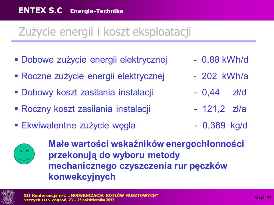 Zużycie energii i koszt eksploatacji