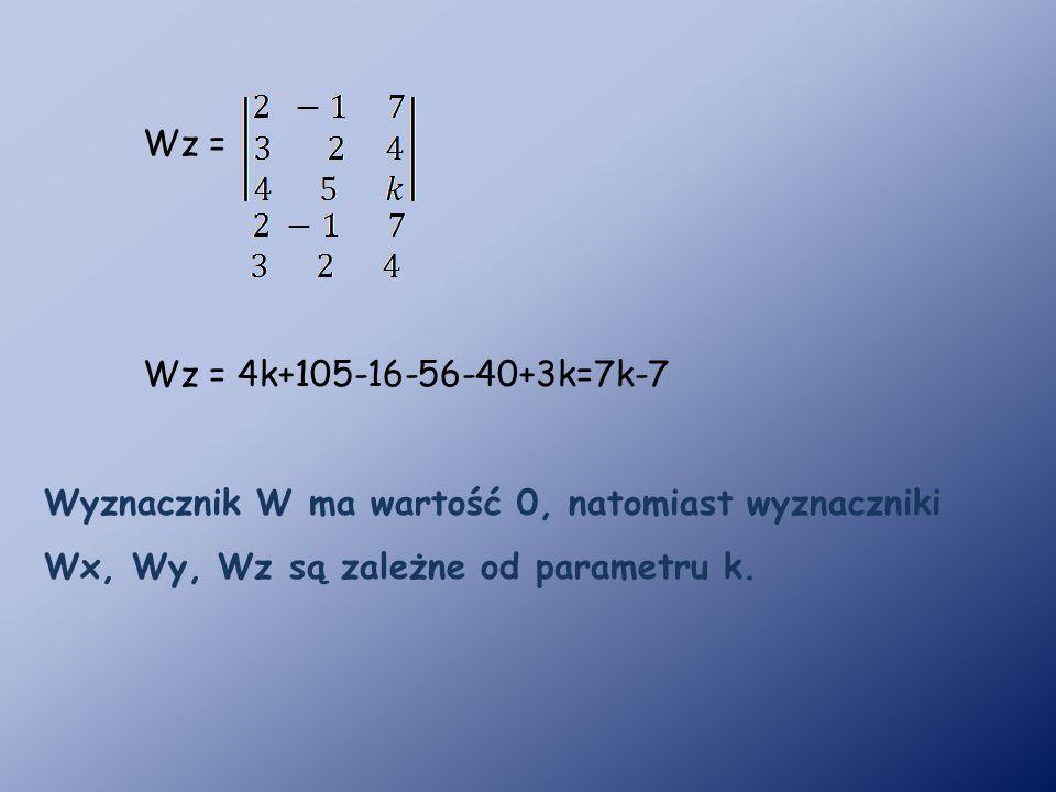 Wz = Wz = 4k+105-16-56-40+3k=7k-7.