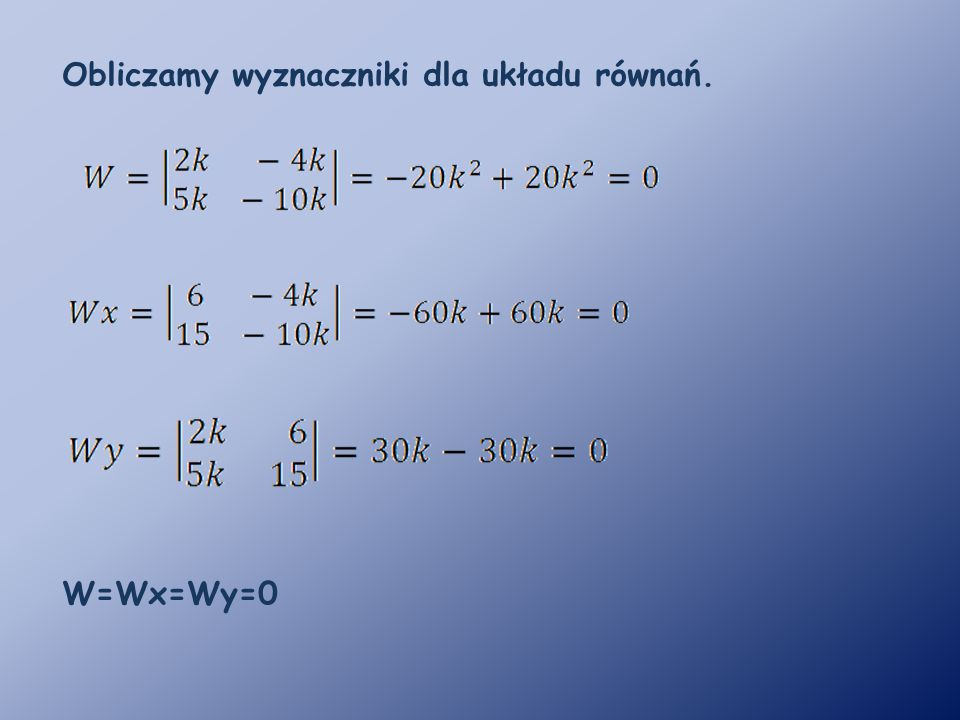 Obliczamy wyznaczniki dla układu równań.