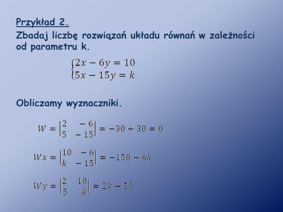 Przykład 2. Zbadaj liczbę rozwiązań układu równań w zależności od parametru k.
