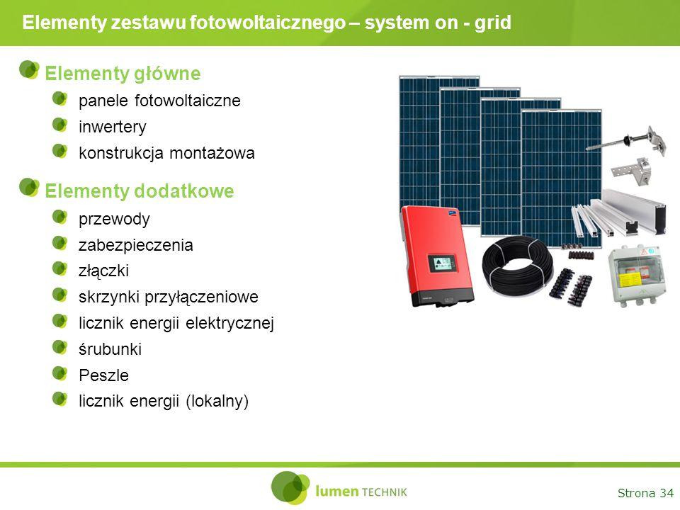 Elementy zestawu fotowoltaicznego – system on - grid