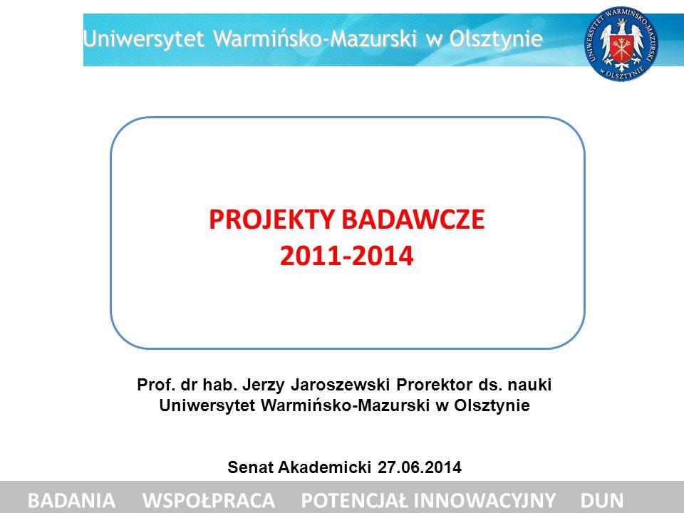 PROJEKTY BADAWCZE 2011-2014 Uniwersytet Warmińsko-Mazurski w Olsztynie
