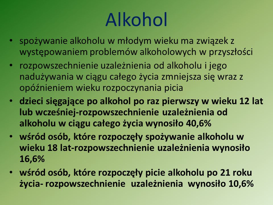 Alkohol spożywanie alkoholu w młodym wieku ma związek z występowaniem problemów alkoholowych w przyszłości.