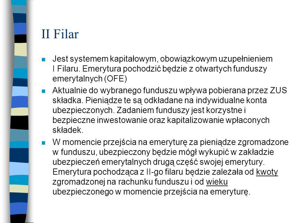 II Filar Jest systemem kapitałowym, obowiązkowym uzupełnieniem I Filaru. Emerytura pochodzić będzie z otwartych funduszy emerytalnych (OFE)