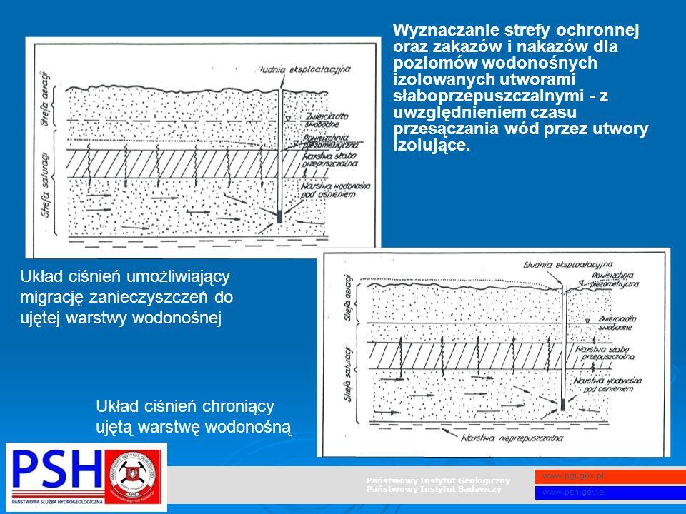 Wyznaczanie strefy ochronnej oraz zakazów i nakazów dla poziomów wodonośnych izolowanych utworami słaboprzepuszczalnymi - z uwzględnieniem czasu przesączania wód przez utwory izolujące.