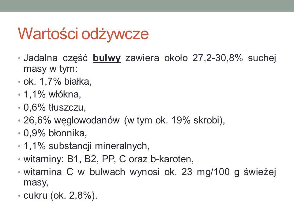 Wartości odżywcze Jadalna część bulwy zawiera około 27,2-30,8% suchej masy w tym: ok. 1,7% białka,