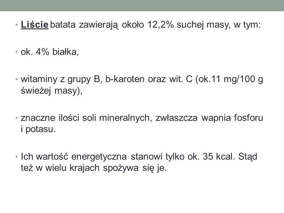 Liście batata zawierają około 12,2% suchej masy, w tym: