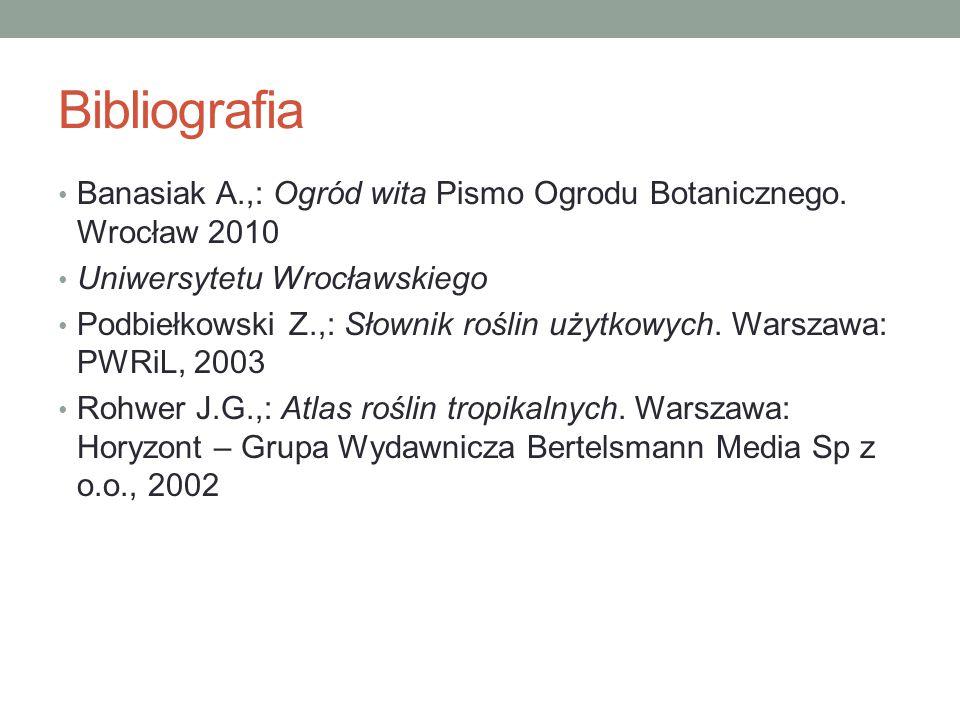 Bibliografia Banasiak A.,: Ogród wita Pismo Ogrodu Botanicznego. Wrocław 2010. Uniwersytetu Wrocławskiego.