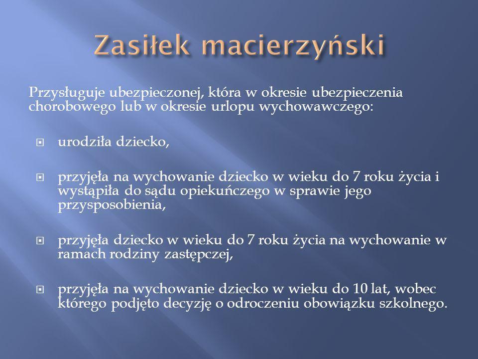 Zasiłek macierzyński Przysługuje ubezpieczonej, która w okresie ubezpieczenia chorobowego lub w okresie urlopu wychowawczego: