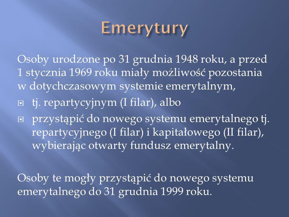 Emerytury Osoby urodzone po 31 grudnia 1948 roku, a przed 1 stycznia 1969 roku miały możliwość pozostania w dotychczasowym systemie emerytalnym,