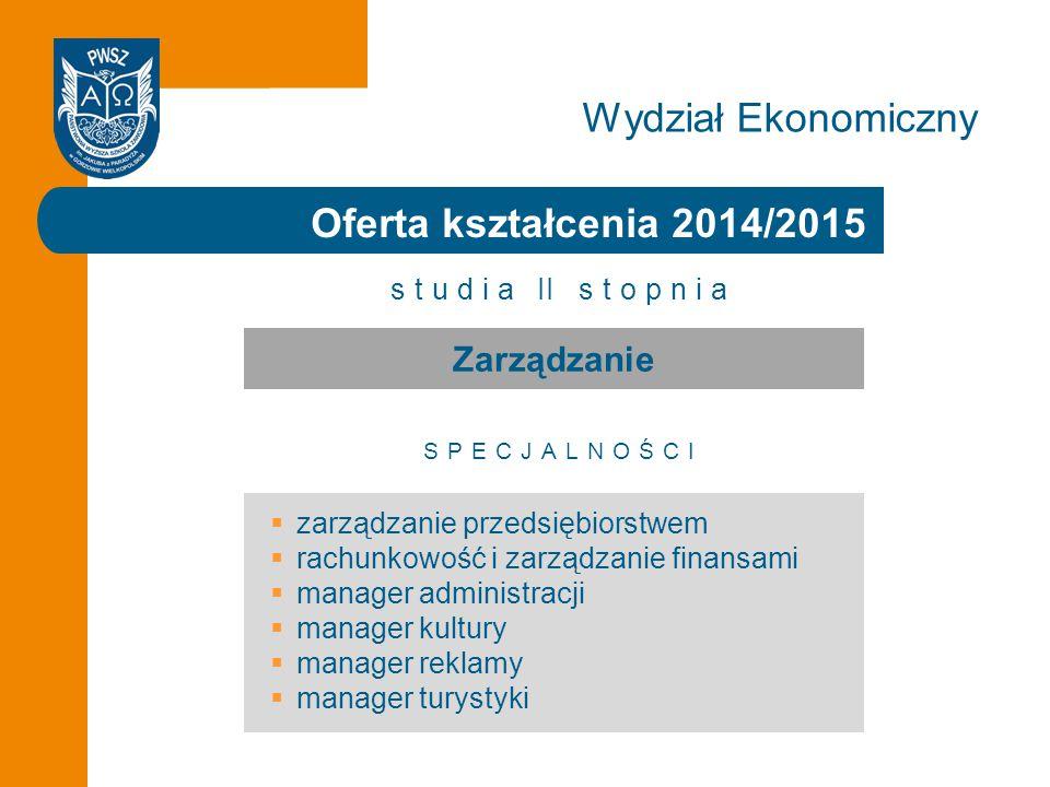 Wydział Ekonomiczny Oferta kształcenia 2014/2015 Zarządzanie