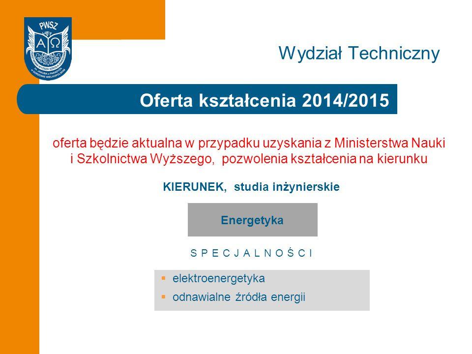 Wydział Techniczny Oferta kształcenia 2014/2015