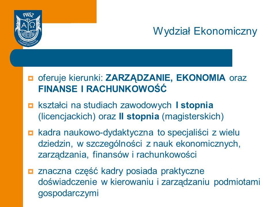 Wydział Ekonomiczny oferuje kierunki: ZARZĄDZANIE, EKONOMIA oraz FINANSE I RACHUNKOWOŚĆ.