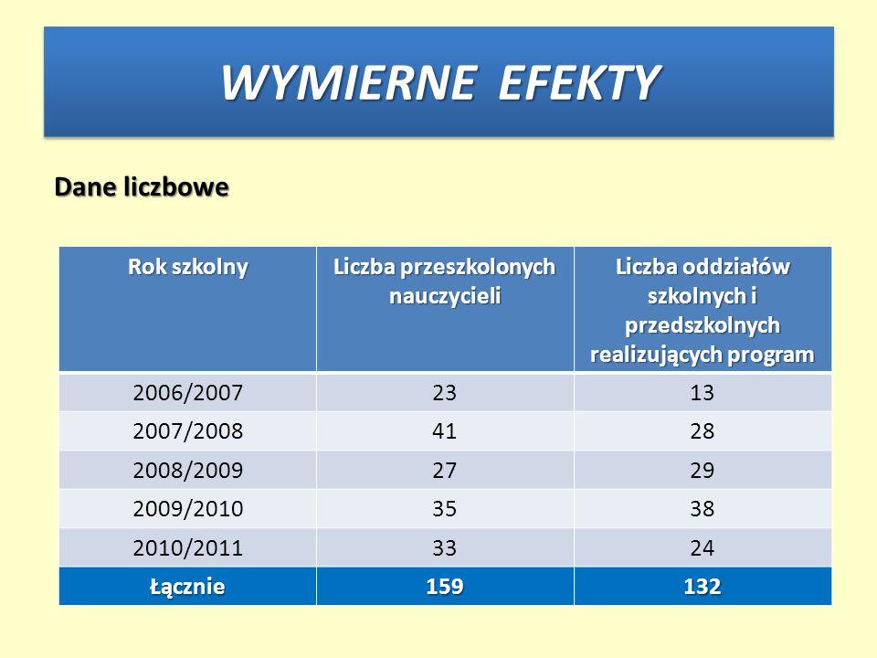 WYMIERNE EFEKTY Dane liczbowe Rok szkolny