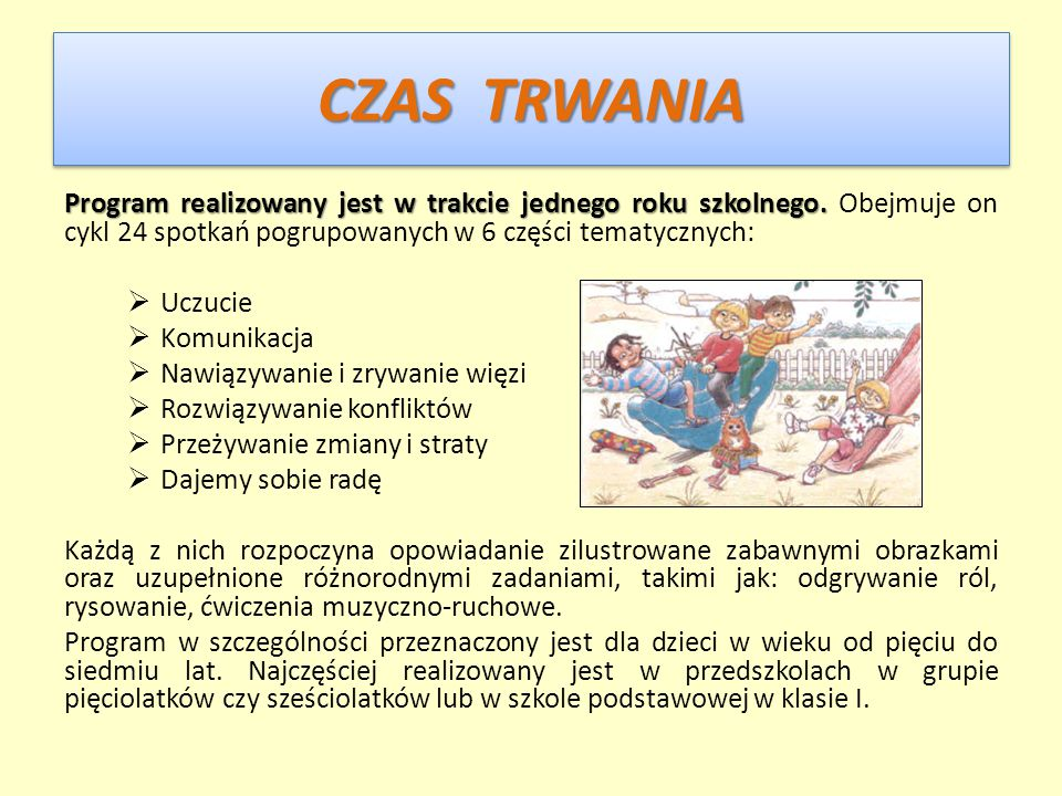 CZAS TRWANIA Program realizowany jest w trakcie jednego roku szkolnego. Obejmuje on cykl 24 spotkań pogrupowanych w 6 części tematycznych: