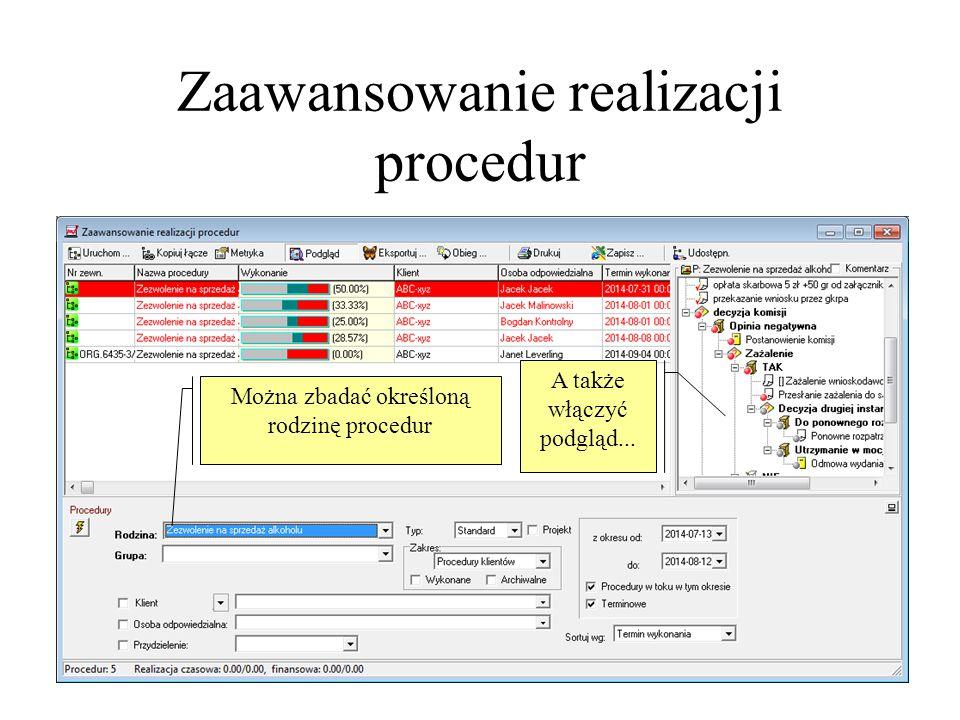 Zaawansowanie realizacji procedur