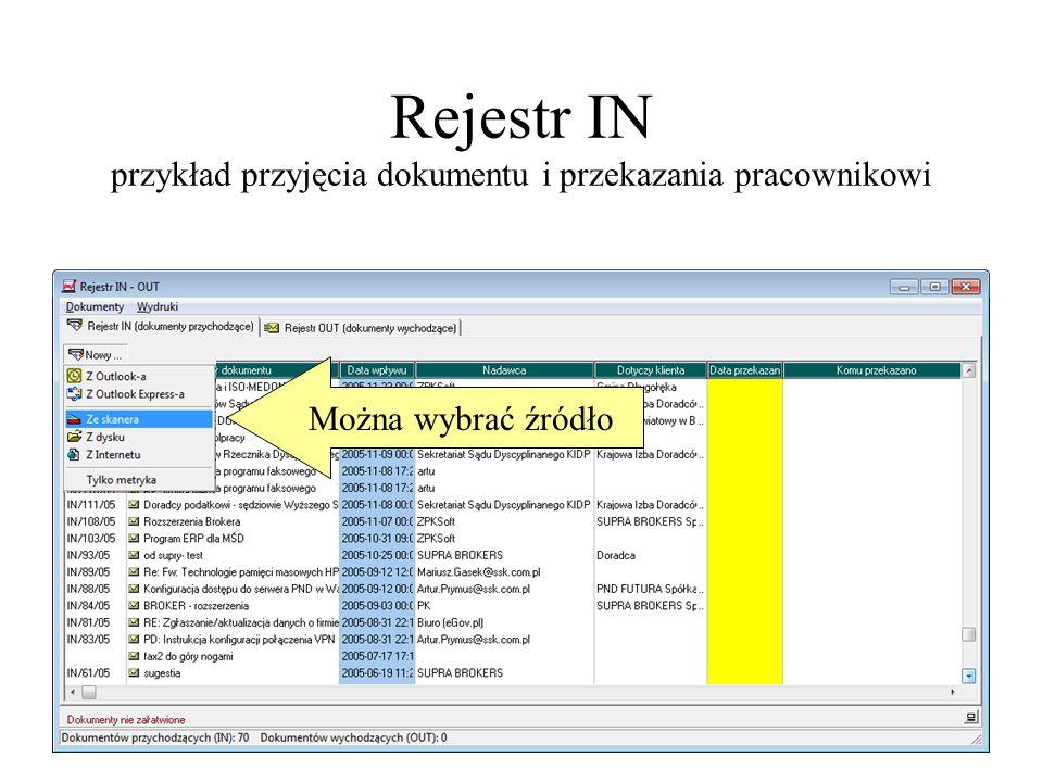 Rejestr IN przykład przyjęcia dokumentu i przekazania pracownikowi