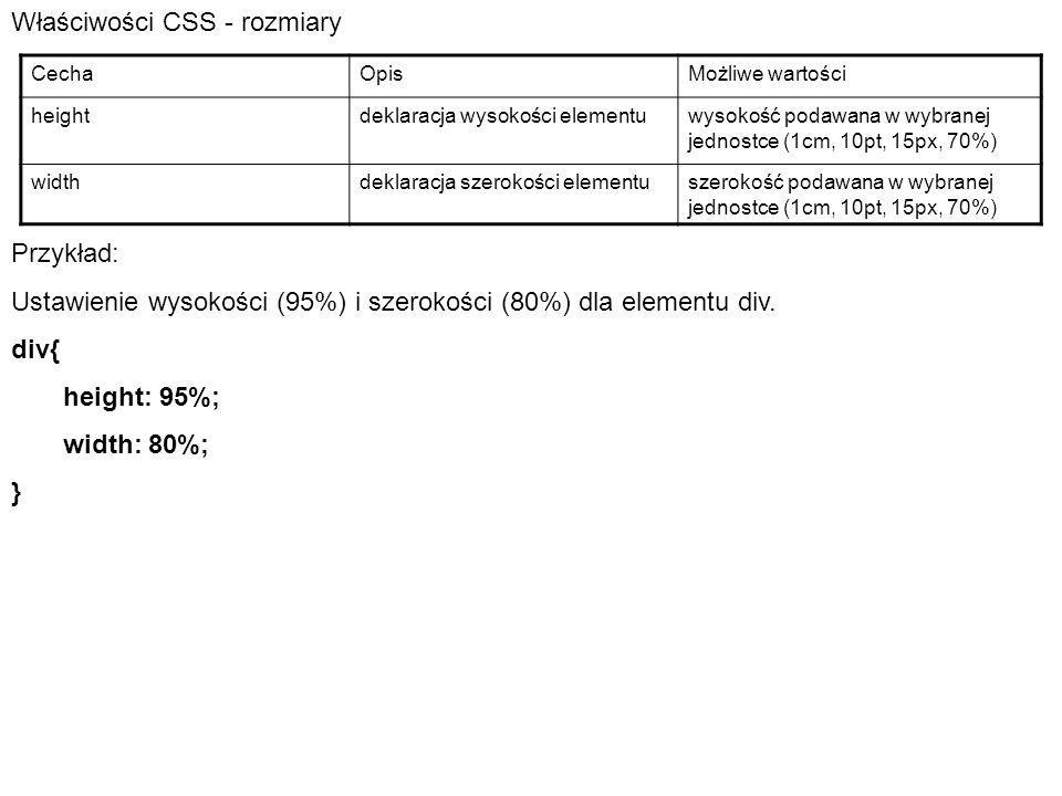 Właściwości CSS - rozmiary