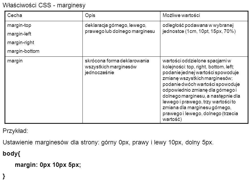 Właściwości CSS - marginesy