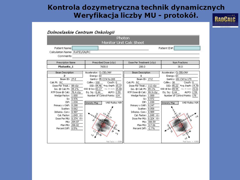 Kontrola dozymetryczna technik dynamicznych