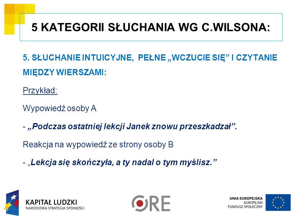 5 KATEGORII SŁUCHANIA WG C.WILSONA: