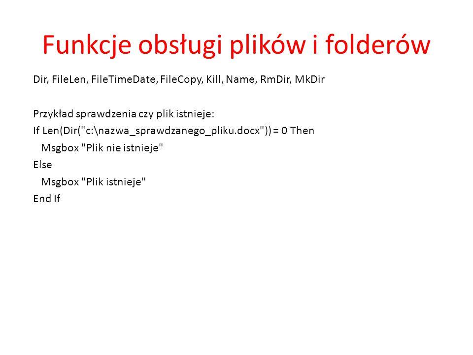 Funkcje obsługi plików i folderów