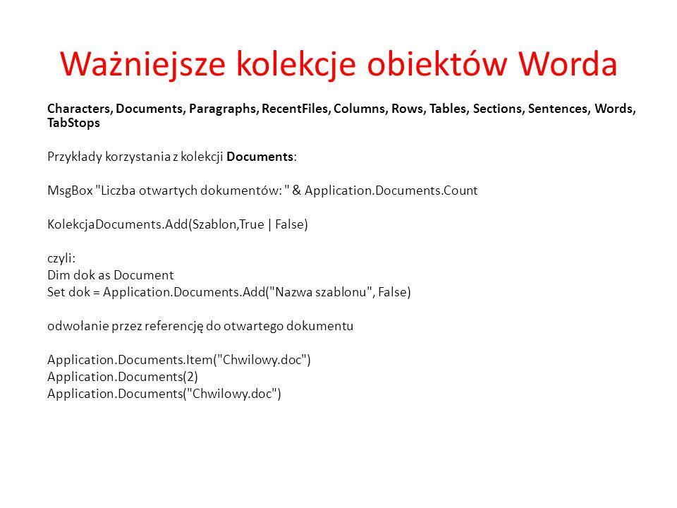 Ważniejsze kolekcje obiektów Worda