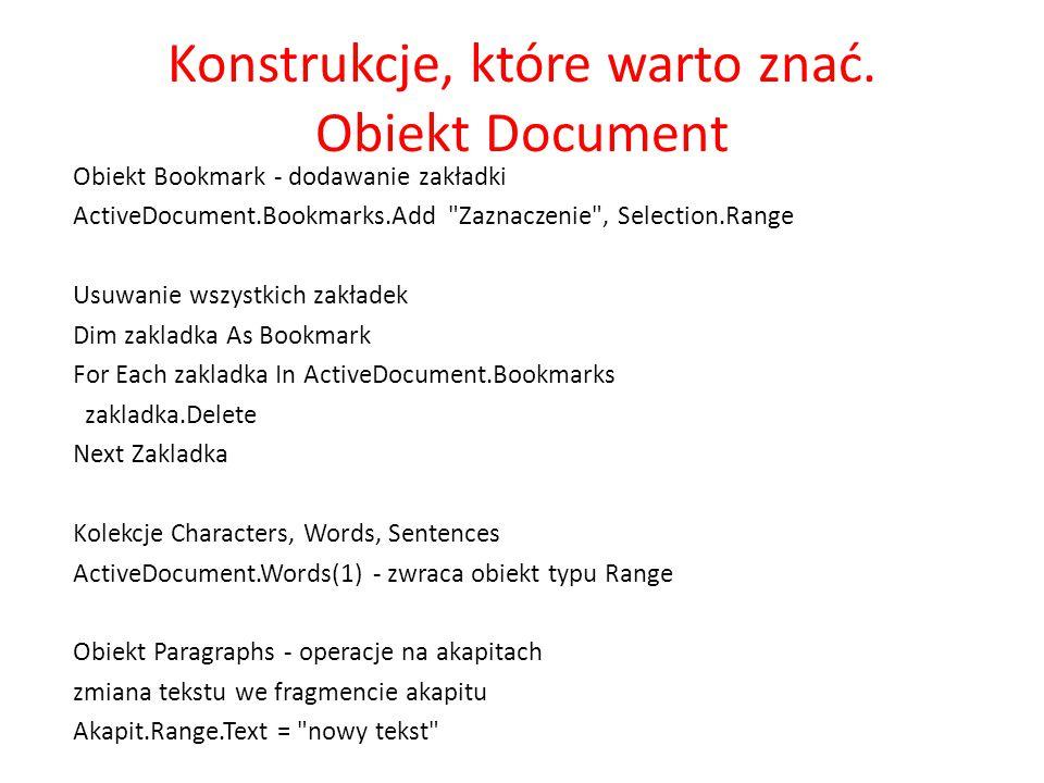 Konstrukcje, które warto znać. Obiekt Document