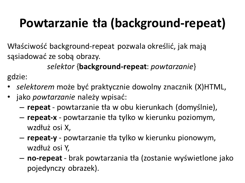 Powtarzanie tła (background-repeat)